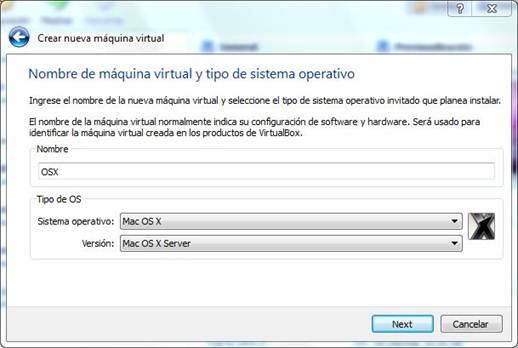 crear maquina virtual mac os x virtualbox
